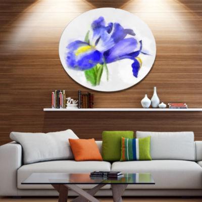 Designart Blue Iris Illustration Watercolor FloralMetal Round Wall Decor