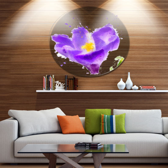 Designart Large Violet Crocus Watercolor Large Floral Metal Artwork