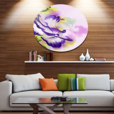Designart Abstract Blue Flower Watercolor Oversized Floral Aluminium Wall Art