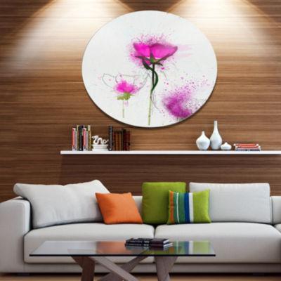 Designart Watercolor Purple Daisy Floral OversizedFloral Aluminium Wall Art