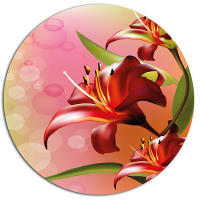 Designart Beautiful Vector Flower on Pink Oversized Floral Metal Round Artwork