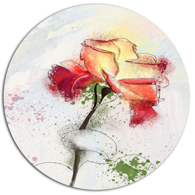 Designart Beautiful Rose Illustration Drawing Floral Metal Round Wall Decor
