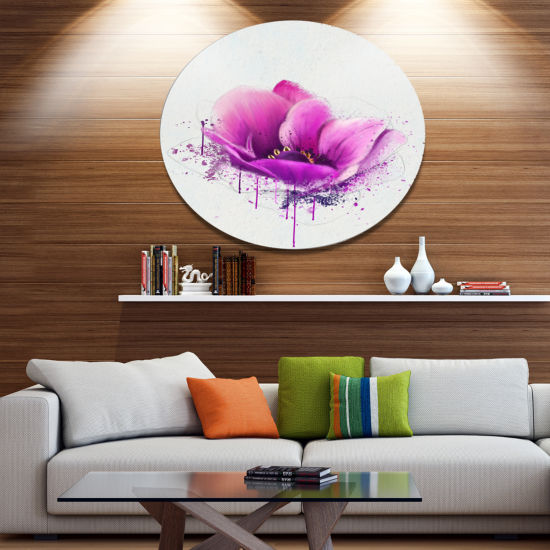 Designart Purple Watercolor Poppy Flower Floral Metal Round Wall Decor