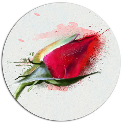 Designart Red Rose Bud Watercolor Sketch Disc Flowers Large Metal Circle Wall Artwork