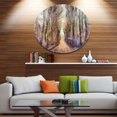 Designart Trees and Road Nature Watercolor Landscape Metal Round Wall Decor