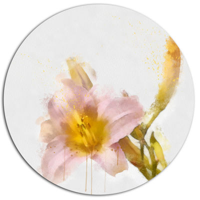 Designart Watercolor Lily with Color Splashes Floral Metal Round Wall Decor