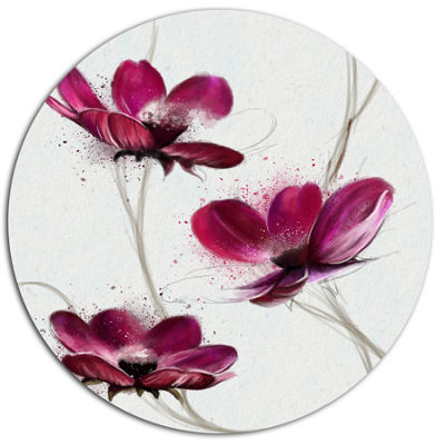 Designart Lovely Red Watercolor Poppies Disc Flowers Large Metal Circle Wall Artwork