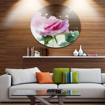 Designart Pink Rose Sketch with Green Leaves Floral Metal Round Wall Decor