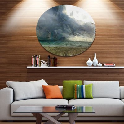 Designart Sea before Storm Watercolor Landscape Metal Round Wall Decor