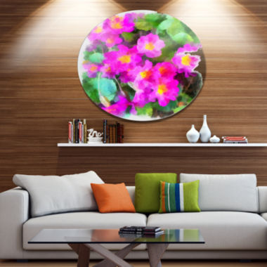 Designart Pink Little Flowers with Green Leaves Large Floral Metal Artwork