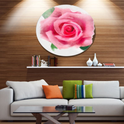 Designart Big Pink Rose Flower with Leaves LargeFloral Metal Artwork