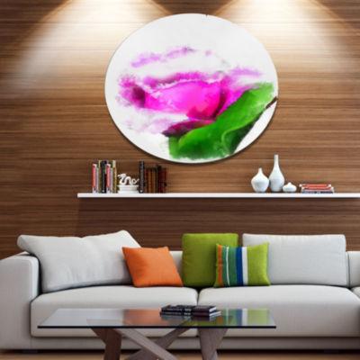 Designart Pink Rose Watercolor with Leaves LargeFloral Metal Artwork