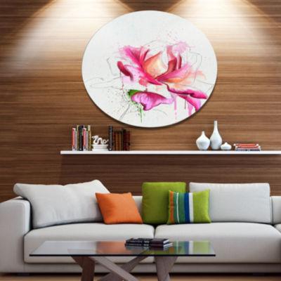 Designart Violet Watercolor Rose Sketch Floral Metal Round Wall Decor