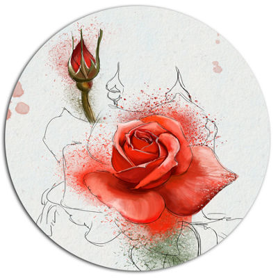 Designart Red Watercolor Rose Sketch Floral MetalRound Wall Decor
