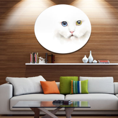Designart Portrait of Cute White Kitten OversizedLarge Animal Metal Artwork