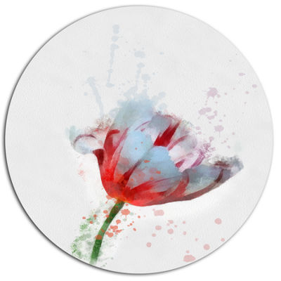 Designart Beautiful Red White Flower Sketch FloralMetal Round Wall Decor