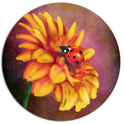 Designart Gerber and Ladybird Watercolor Floral Metal Round Wall Decor