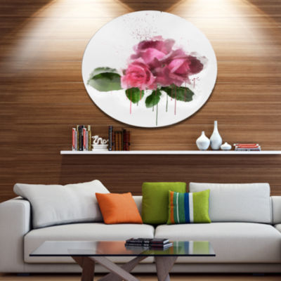 Designart Bunch of Pink Roses with Leaves Large Floral Metal Artwork
