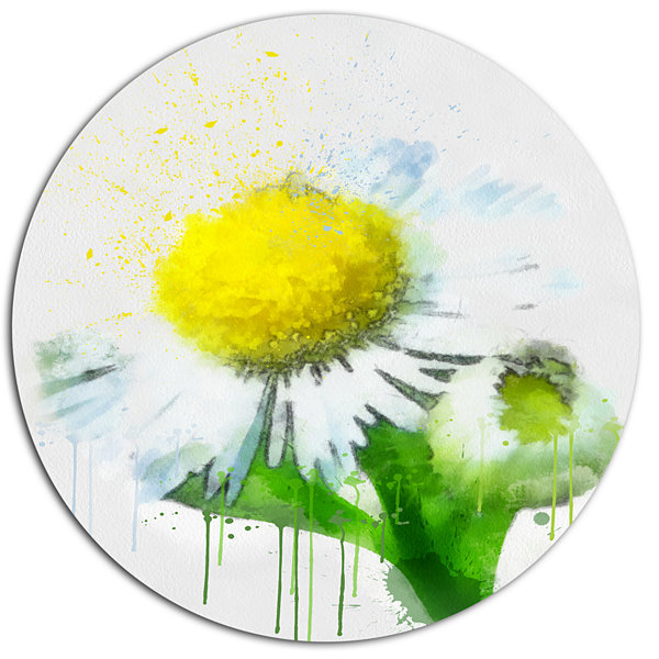 Designart Yellow Chamomile Sketch Watercolor Floral Metal Round Wall ...