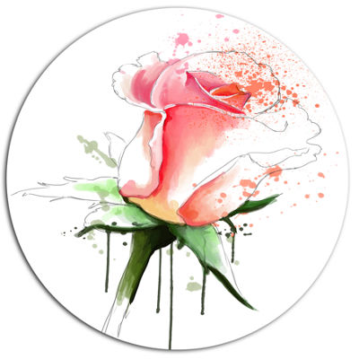 Designart Pink Rose Sketch with Green Calyx Oversized Floral Aluminium Wall Art