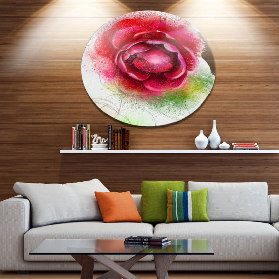 Designart Large Blooming Red Rose on White Oversized Floral Metal Round Artwork