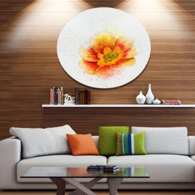 Designart Beautiful Yellow Watercolor Flower Oversized Floral Aluminium Wall Art