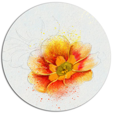 Designart Beautiful Yellow Watercolor Flower Oversized Floral Aluminium Wall Art