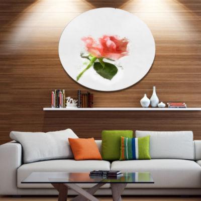 Designart Pink Rose Watercolor with Stem Large Floral Metal Artwork