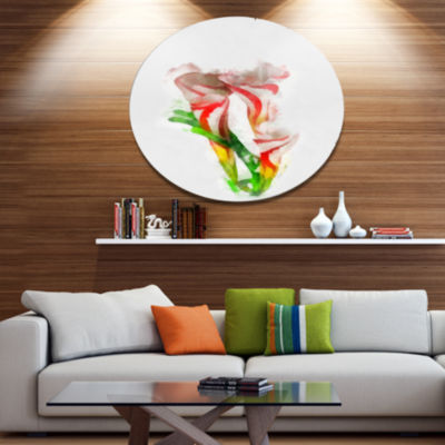 Designart Beautiful Bell Flower Watercolor FloralMetal Round Wall Decor