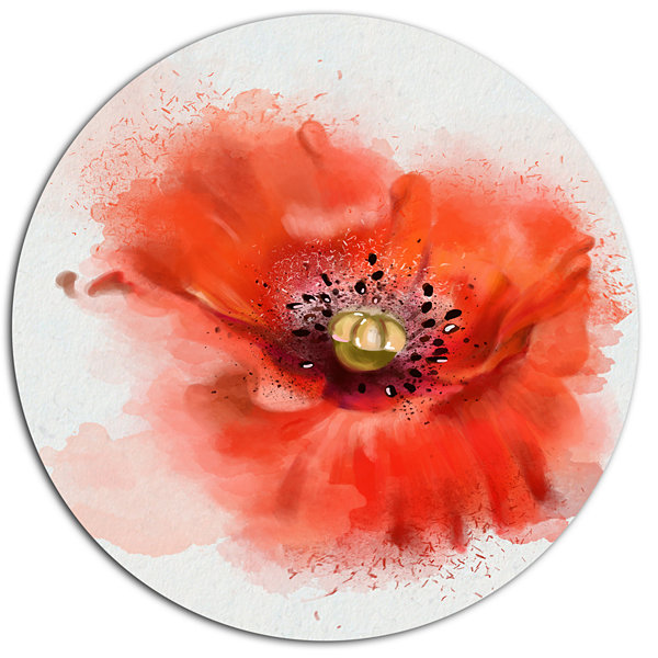 Designart Stylish Red Watercolor Poppy Flower Floral Metal Round Wall Decor