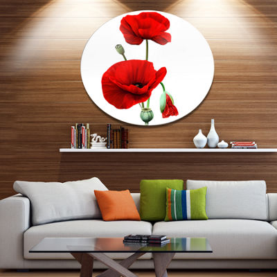 Designart Red Poppies on White Background Oversized Floral Aluminium Wall Art
