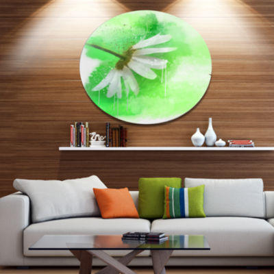 Designart White Chamomile with Green Splashes Floral Metal Round Wall Decor