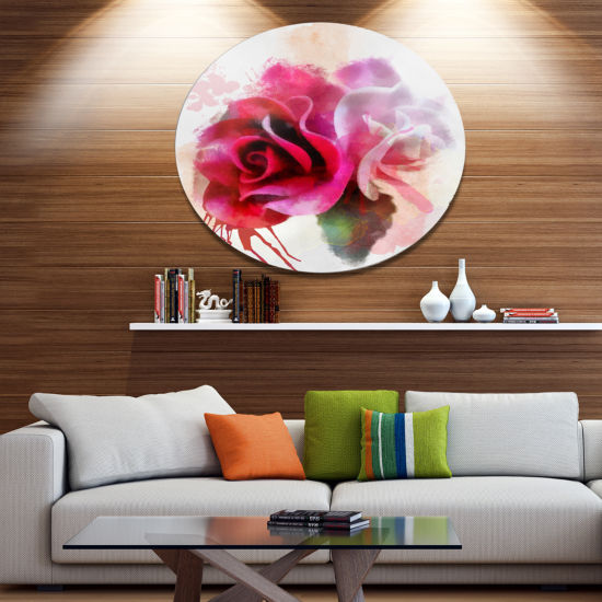 Designart White Red Roses with Color Splashes Floral Metal Round Wall Decor
