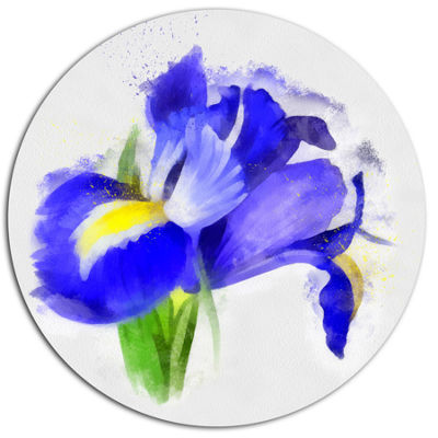 Designart Bloomy Blue Watercolor Rose Floral MetalRound Wall Decor