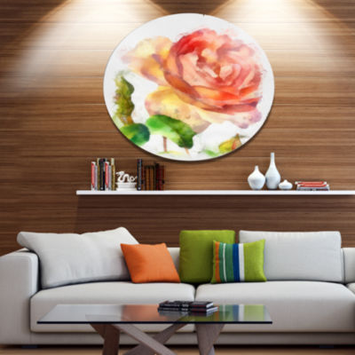 Designart Bloomy Red Rose Watercolor Drawing Floral Metal Round Wall Decor