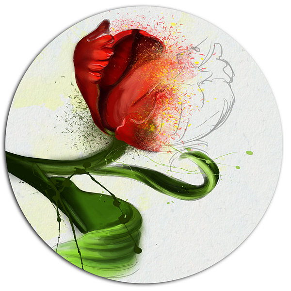 Design Art Big Red Flower with Green Leaves FloralMetal Round Wall Decor