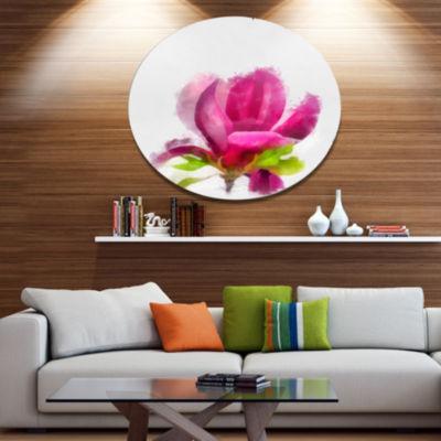 Designart Full Bloom Pink Magnolia Flower Large Floral Metal Artwork