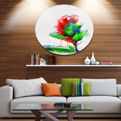 Designart Colorful Flower Stem with Splashes LargeFloral Metal Artwork