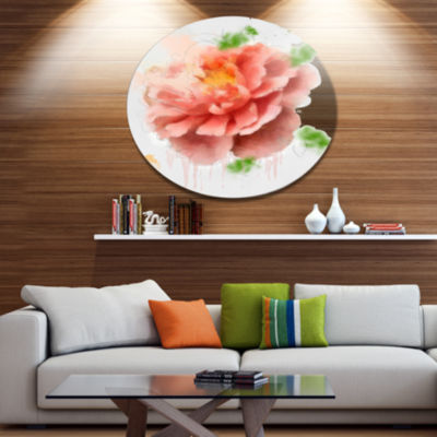 Designart Light Red Rose Sketch Watercolor FloralMetal Round Wall Decor