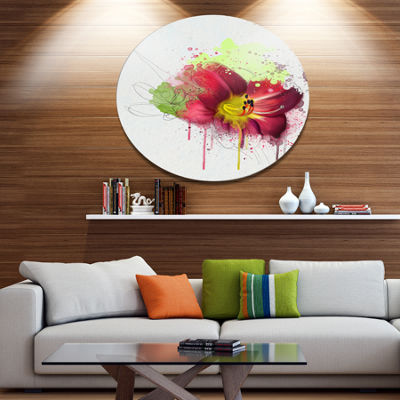 Designart Red Lily with Green Paint Splashes Floral Metal Round Wall Decor