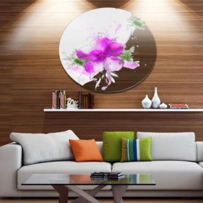 Designart Purple Flower Sketch with Stem Large Floral Metal Artwork