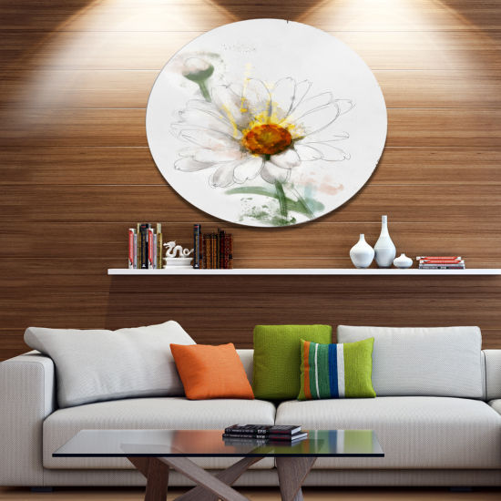 Designart Hand drawn Watercolor Chamomile Oversized Floral Aluminium Wall Art