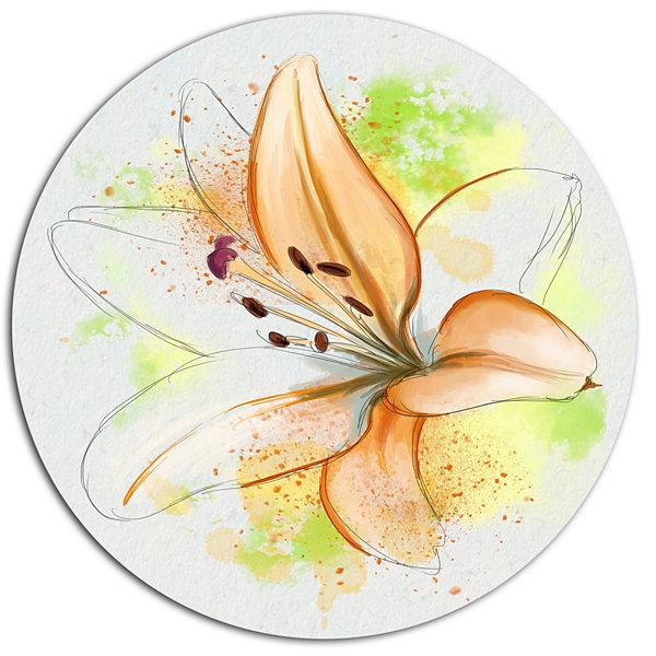 Designart Cute Yellow Flower with Green SplashesFloral Metal Round ...