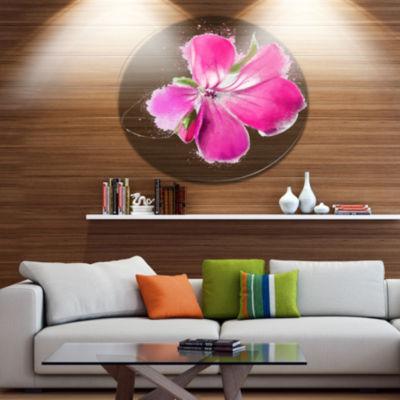 Designart Full Bloom Pink Flower Watercolor FloralMetal Round Wall Decor