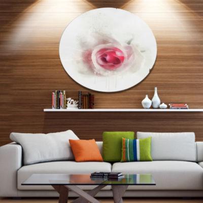 Designart White Rose with Pink Petals Large FloralMetal Artwork