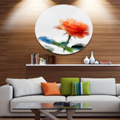 Designart Orange Rose Flower with Splashes LargeFloral Metal Artwork