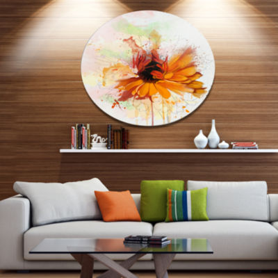 Designart Sunflower Drawing with Paint Splashes Floral Metal Round Wall Decor