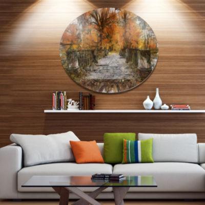 Designart Beautiful Watercolor Autumn Forest Landscape Metal Round Wall Decor