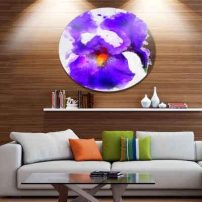 Designart Blue Flower and Watercolor Splashes Large Floral Metal Artwork