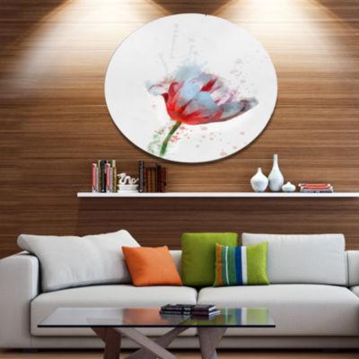 Designart Beautiful Red White Flower Sketch FloralMetal Round Wall Decor